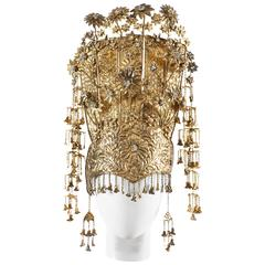 1920s Gold gilded ceremonial headdress
