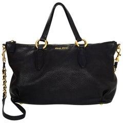 Miu Miu Black Leather Tote w. Strap
