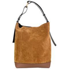 Marni NEW Tan Suede & Black Leather Halo Pod Bucket Bag rt. $1,650