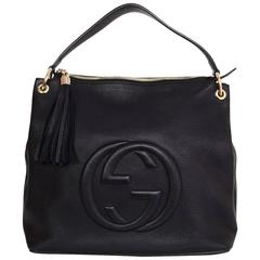 Gucci Black Leather Soho Hobo Crossbody Bag
