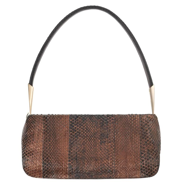 BOTTEGA VENETA Bronze Metallic Snakeskin Leather Baguette Shoulder Bag Purse