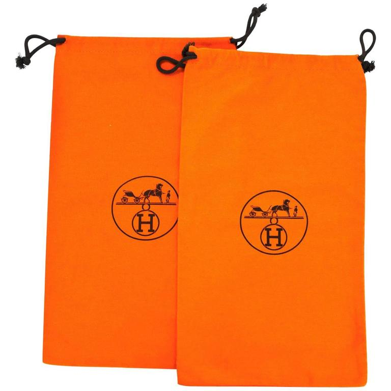 Hermes Orange Canvas Set of Two Travel Shoe Dust Bags