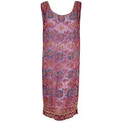 1920's French Couture Purple Beaded Sequin Deco Floral Chiffon Flapper Dress
