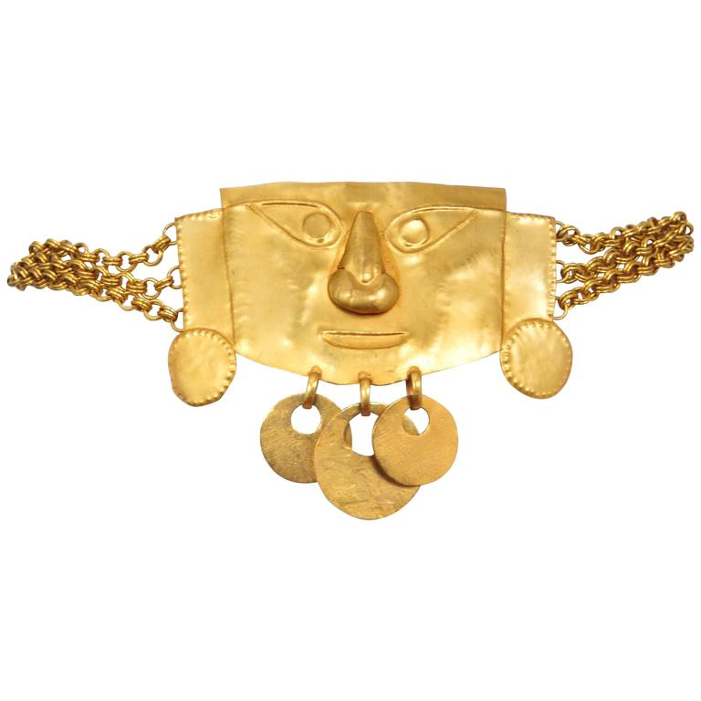 Yves Saint Laurent Pre Columbian Gold Metal Giant Mask Belt Rare Couture