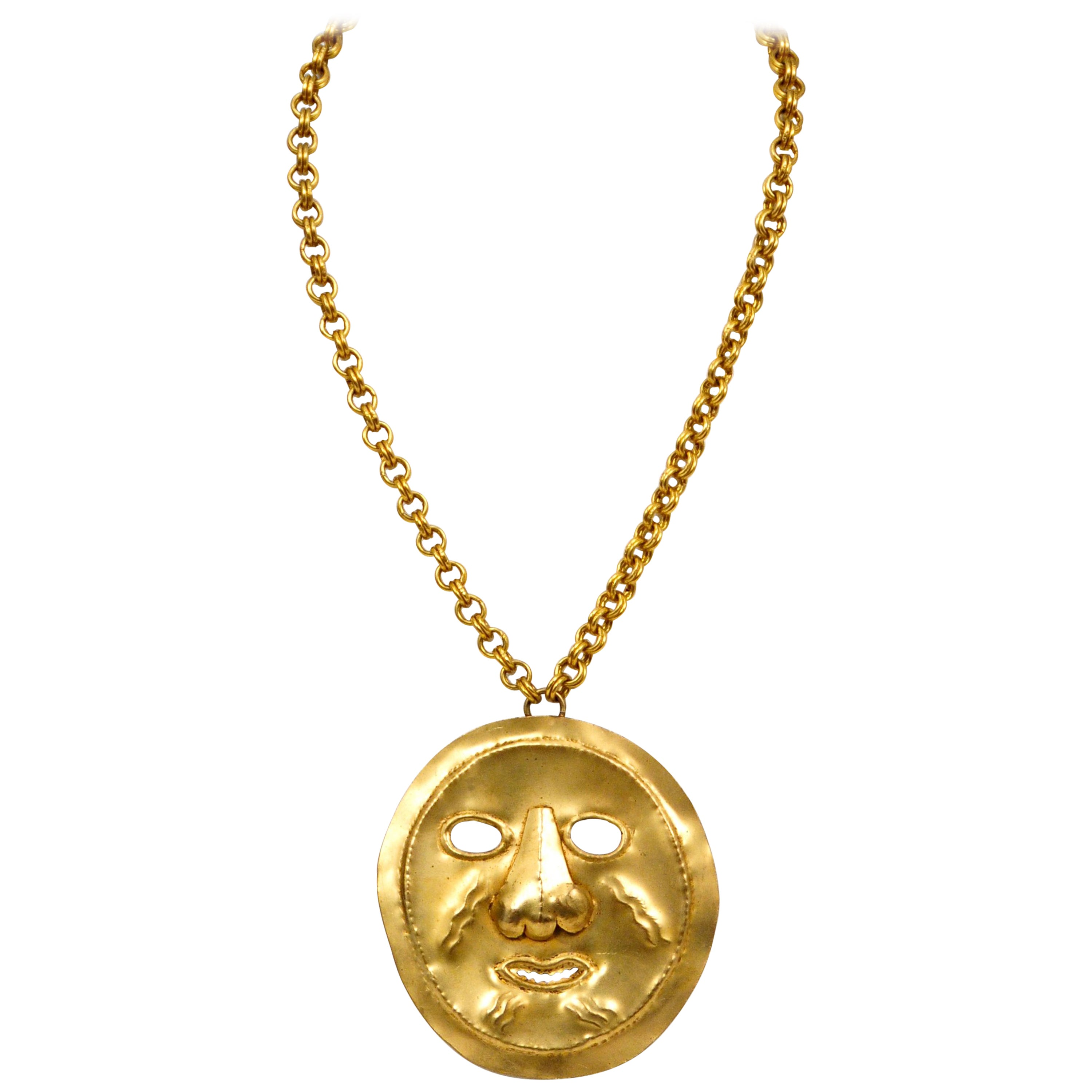 044dbb0f1dc Yves Saint Laurent Pre Columbian Gold Metal Mask Pensant Necklace For Sale  at 1stdibs
