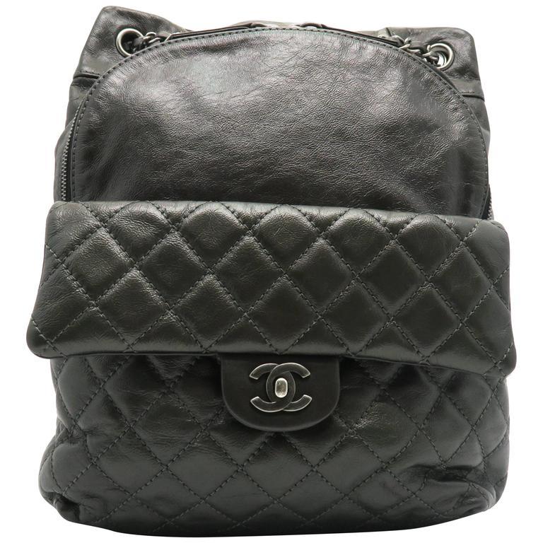 Chanel Dark Green Calfskin Leather Backpack 1