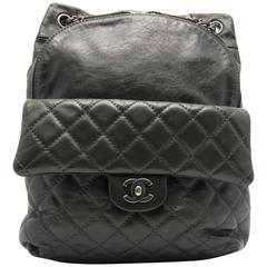 Chanel Dark Green Calfskin Leather Backpack
