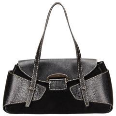 Tods Black Suede Shoulder Bag