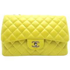 Chanel Quilted Classic Flap Jumbo Yellow Lambskin Leather Silver Metal Flap Bag