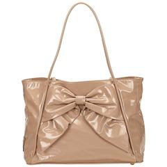 Valentino Brown Patent Ribbon Tote Bag