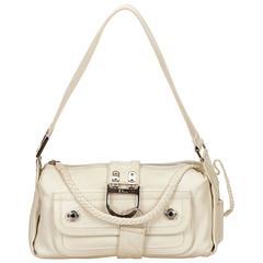 Dior White Leather Flight Shoulder Bag