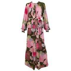 1970s Geoffrey Beene pink and green floral print silk ensemble