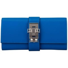 Hermes Blue Zanzibar Chevre Medor Clutch New in Box
