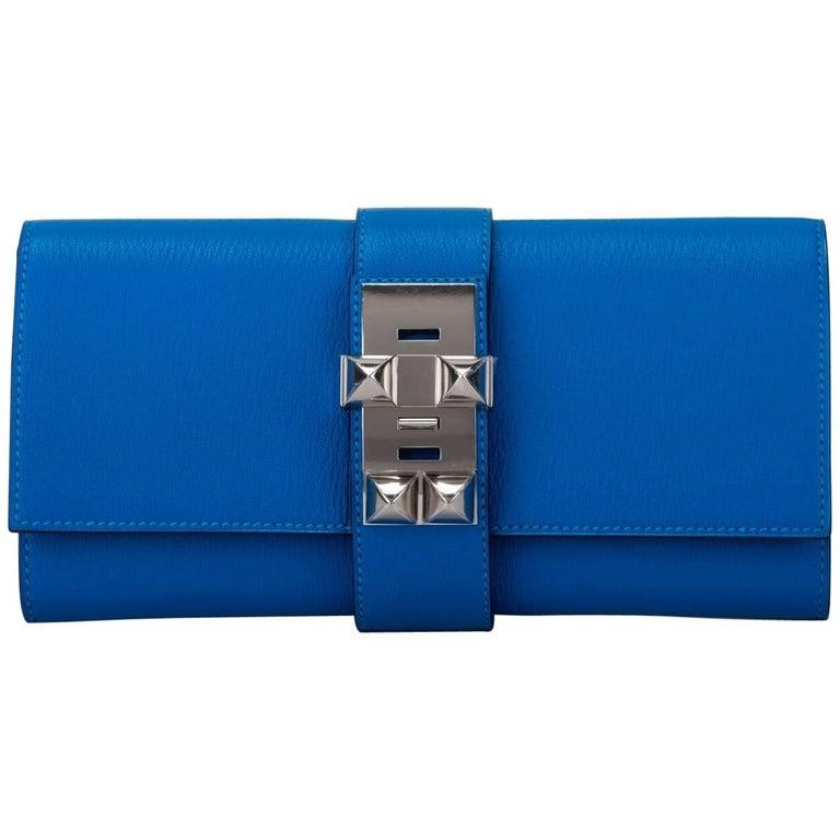 Hermes Blue Zanzibar Chevre Medor Clutch New in Box