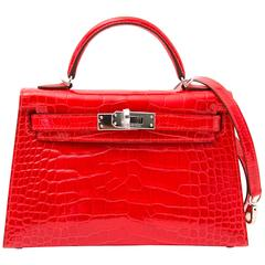 Never Used Hermes Kelly Sellier Mini Geranium Mississippiensis Alligator