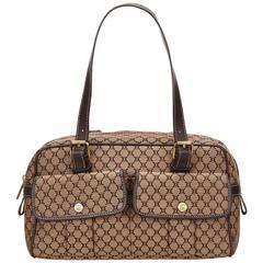 Celine Brown Macadam Jacquard Handbag