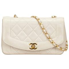 Chanel White Quilted Lambskin Chain Flap