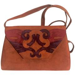 Vintage Bally brown, red, and purple suede leather shoulder bag, clutch bag.
