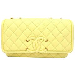 Chanel Yellow Quilted Caviar Leather Gold Metal Chain Shoulder Flap Bag