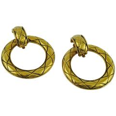 Chanel Vintage Classic Gold Tone Quilted Hoop Earrings