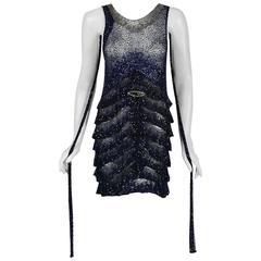1920's Opulent Sapphire-Blue & Black Beaded Sheer Net Tiered Deco Flapper Dress