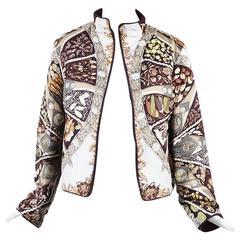 """Hermes Multicolor Silk """"Aux Pays Des Epices"""" Print Reversible Jacket"""