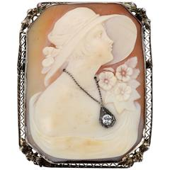 Victorian 14 Karat White Gold and Diamond Cameo Brooch