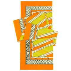 HERMES Giant Orange & Yellow Diagonal Striped Cotton Sarong Scarf Wrap Throw