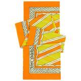 HERMES Giant Orange & Yellow Diagonal Striped Cotton Sarong Scarf Wrap Throw