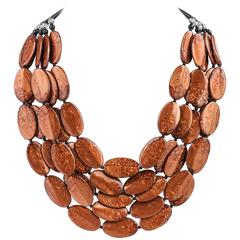ANGELA CAPUTI Giuggui Copper Resin Oval Beaded Multi-Strand Statement Necklace