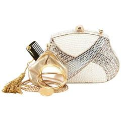 Judith Leiber Minaudiere Crystal and Pearl Small