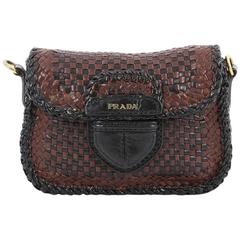 Prada Push Lock Flap Shoulder Bag Madras Woven Leather Small
