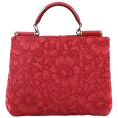 Dolce & Gabbana Sicily Convertible Shopping Tote Floral Lace Medium