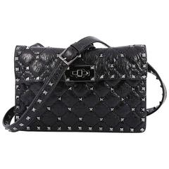 Valentino Rockstud Spike Flap Shoulder Bag Quilted Leather Small