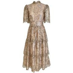 1970s Metalic Lace Cocktail Dress
