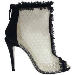 Chanel Black and White Open Toe Lace Booties Sz 38