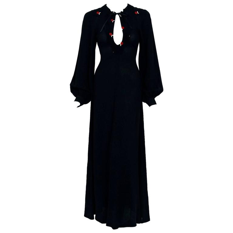 1970's Ossie Clark Embroidered Key-Hole Black Crepe Billow Sleeve Maxi Dress 1