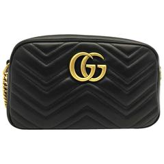 Gucci Black Calfskin Leather Gold Metal Crossbody Bag