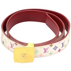 Louis Vuitton Ceinture LV Cut 30mm - Reversible White Multicolor Monogram Canvas