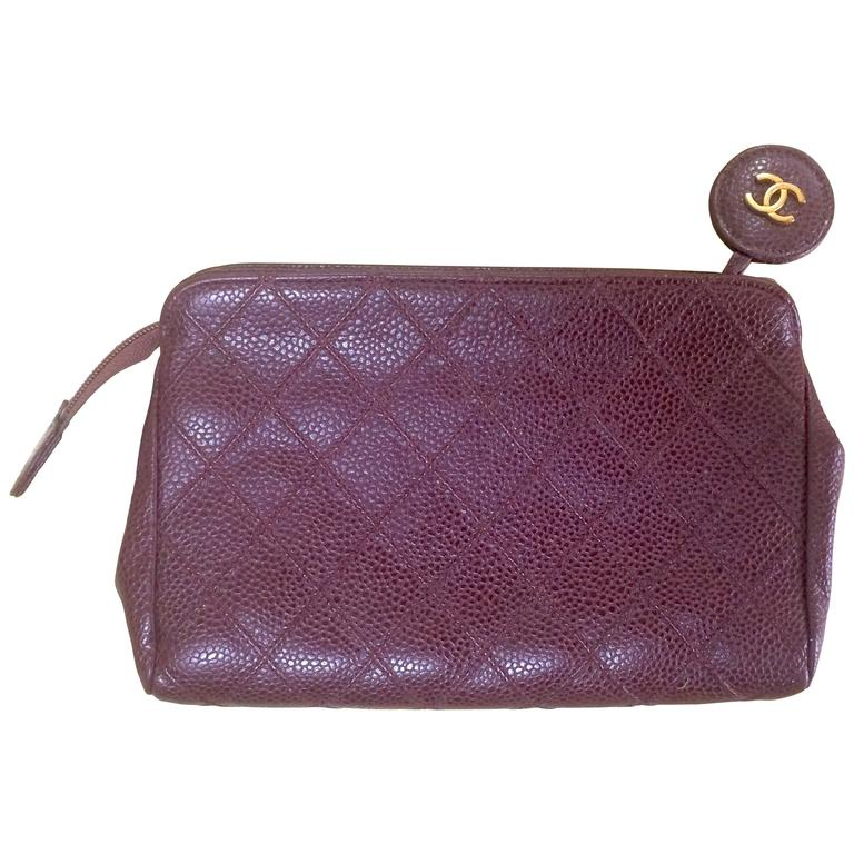 Vintage CHANEL wine brown caviar leather cosmetic, toiletries, makeup pouch. For Sale