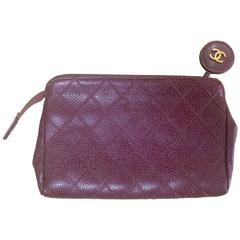 Vintage CHANEL wine brown caviar leather cosmetic, toiletries, makeup pouch.
