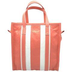 Balenciaga Bazar Shopper White and Coral Lambskin Leather Tote Bag