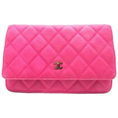 Chanel Wallet On Chain Pink Quilted Caviar Leather Silver Metal Crossbody Bag