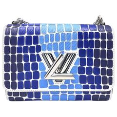 Louis Vuitton Twist MM Blue Epi Leather Silver Metal Chain Shoulder Bag