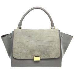 Celine Trapeze Grey Calfskin and Suede Leather Gold Metal Top Handle Bag