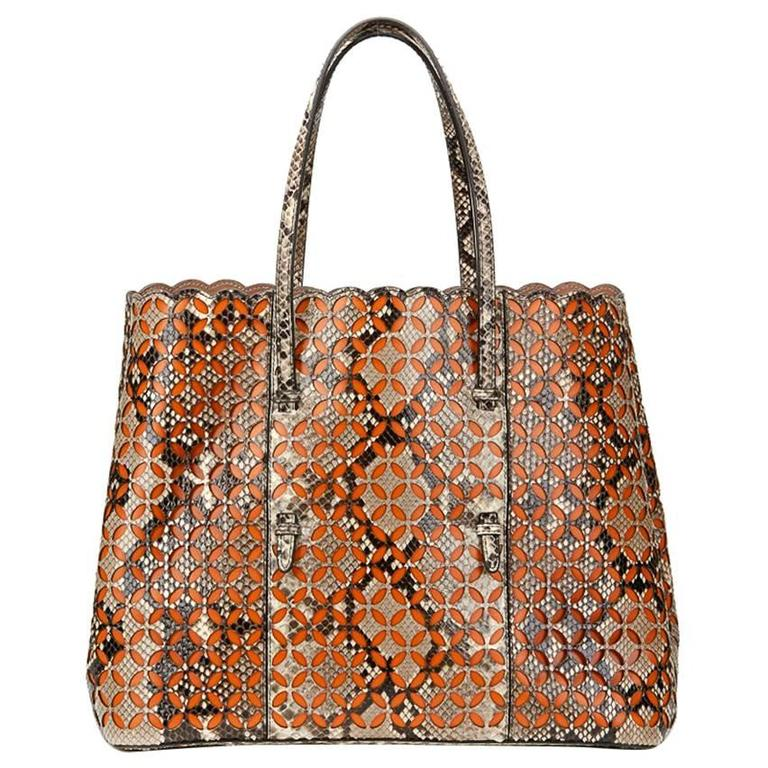2000s Alaia Python & Orange Leather Perforated Shopper