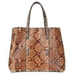 2000 Alaia Python & Orange Leather Perforated Shopper