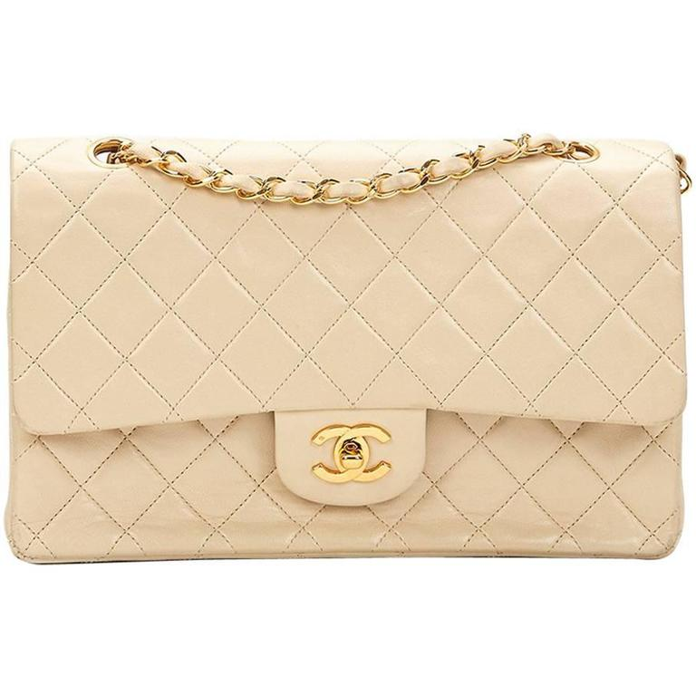 1990s Chanel Ivory Quilted Lambskin Vintage Medium Classic Double Flap Bag