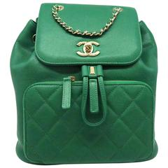 Chanel Green Caviar Leather Gold Metal Backpack