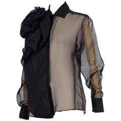 Circa 2004 CHRISTIAN DIOR by John Galliano black silk bow sheer blouse unworn